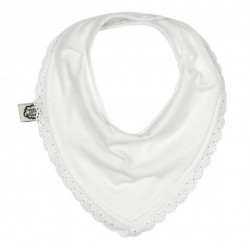 Bavoir bandana en coton bio ImseVimse - Dentelle blanche