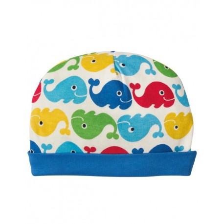 Bonnet nouveau-né en coton biologique Frugi Baleines