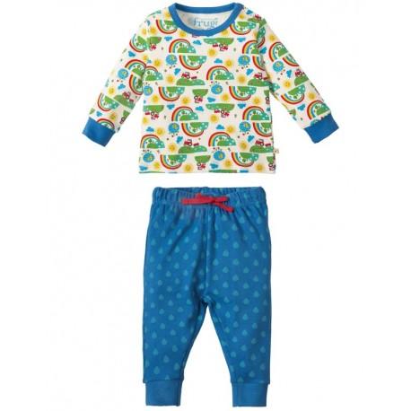 Pyjama 2-pièces en coton biologique Frugi motif Arc-en-ciel