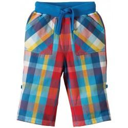 Pantalon en coton biologique Frugi à carreaux bleu/rouge
