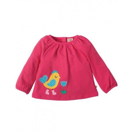 T-shirt manches longues en coton biologique Frugi motif Poule