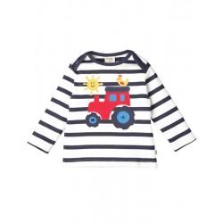 T-shirt manches longues en coton biologique Frugi motif tracteur