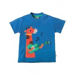 T-shirt manches courtes en coton biologique Frugi motif Girafe