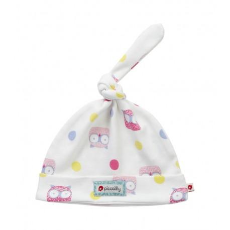 Bonnet nouveau-né en coton bio Piccalilly hiboux