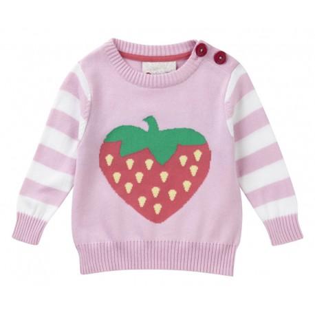 Pull 12-18 mois en coton bio Piccalilly motif fraise