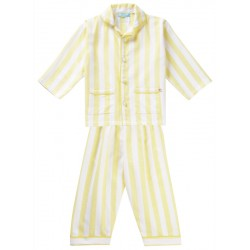 Pyjama en coton bio tissé Piccalilly rayures jaunes