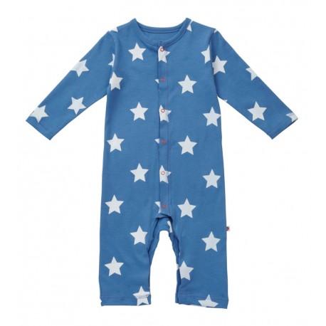 Grenouillère en coton bio Piccalilly bleue étoiles blanches