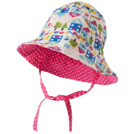 FRUGI chapeau d'été révérsible en coton biologique, motif maisons
