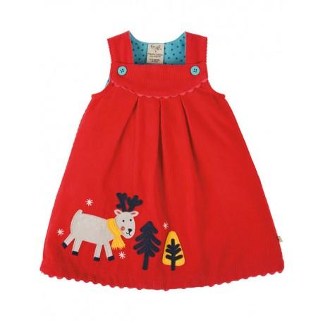 FRUGI robe de Noël en velous côtelé motif renne