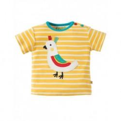 FRUGI T-shirt manches courtes appliqué oiseau jaune