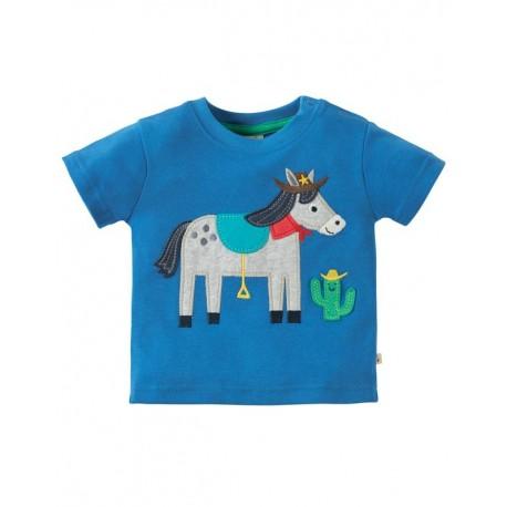 FRUGI T-shirt manches courtes appliqué cheval cowboy