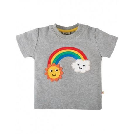 FRUGI T-shirt manches courtes appliqué arc-en-ciel