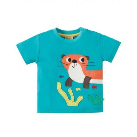 FRUGI T-shirt manches courtes appliqué loutre
