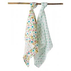 FRUGI mousselines en coton bio pack de 2 - motif girafe / nuages