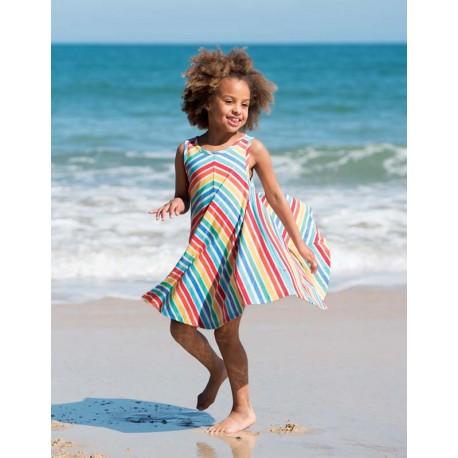 FRUGI robe plage tournoyante en coton bio ray'é