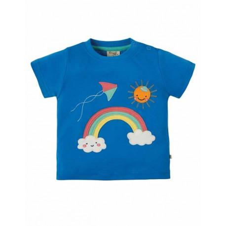 T-shirt en coton bio Frugi, motif Arc-en-ciel