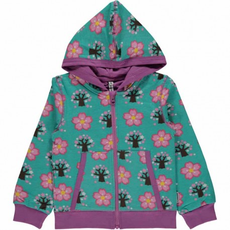 Sweat à capuche en coton bio GOTS Maxomorra - motif cerisier