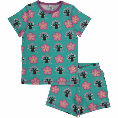 Pyjama d'été en coton bio GOTS Maxomorra - motif cerisier