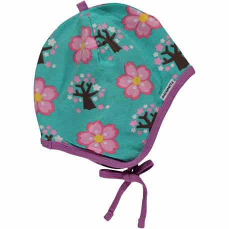 Bonnet avec rabats en coton bio GOTS Maxomorra - motif cerisier