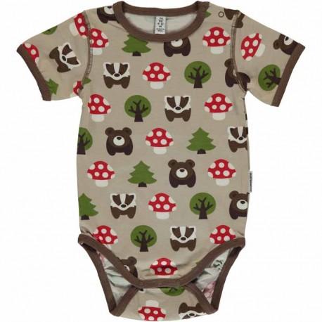Body manches courtes en coton bio Maxomorra - Forêt