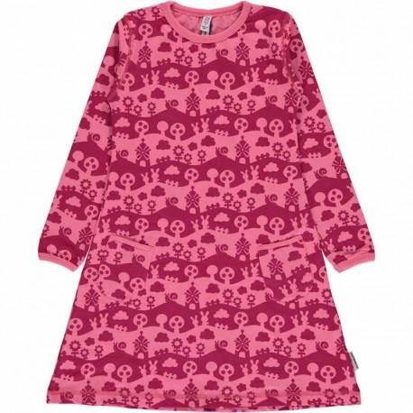 Robe manches longues en coton bio Maxomorra - Paysage rose