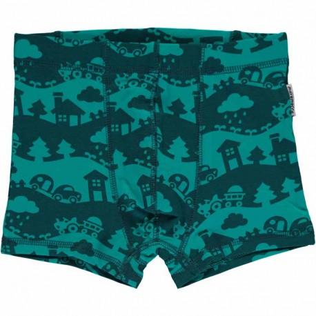 Boxer 5-6 ans en coton bio Maxomorra - Paysage turquoise