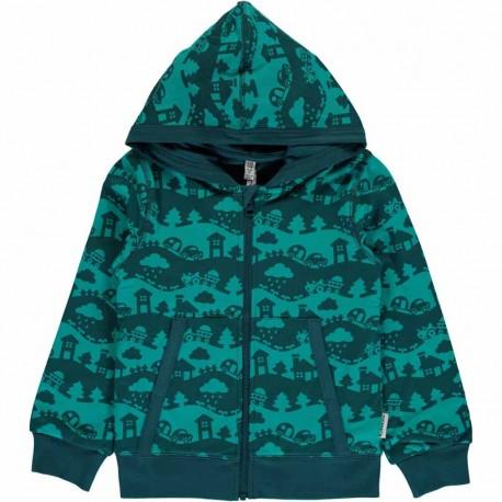Sweat àcapuche en coton bio Maxomorra - Paysage turquoise