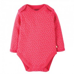 FRUGI body manches longues - rose à points blancs