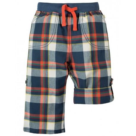 FRUGI pantalon en coton bio, carreaux bleu et rouge