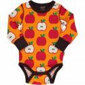 Body manches longues en coton bio Maxomorra, motif Pomme