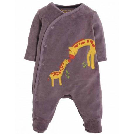 Pyjama bébé en velours bio Frugi, motif Girafe
