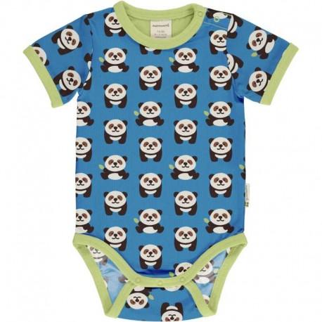 Body manches courtes en coton bio Maxomorra, motif Panda