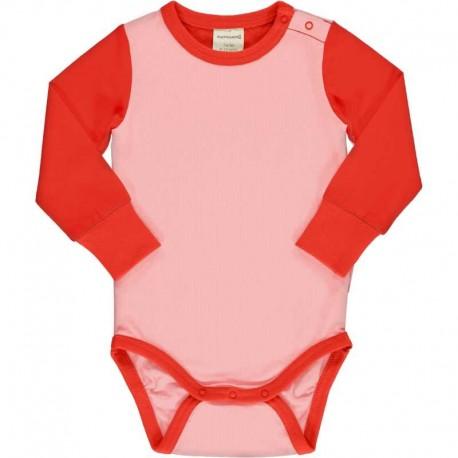 Body manches longues en coton bio Maxomorra - rose / rouge