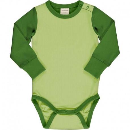 Body manches longues en coton bio Maxomorra - bicolore vert