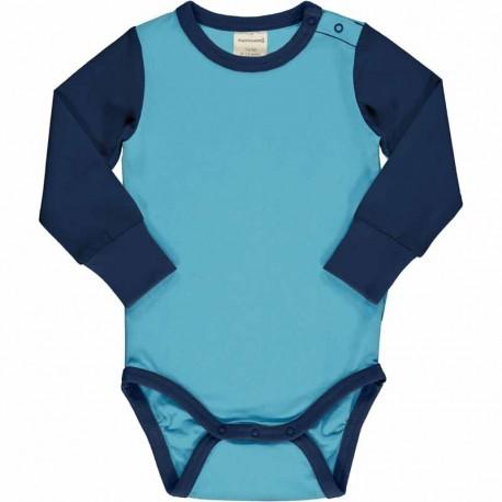 Body manches longues en coton bio Maxomorra - bleu marine / bleu clair