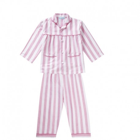 Pyjama 1-2 ans en coton bio tissé Piccalilly rayures roses