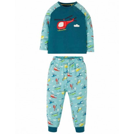 Pyjama en coton biologique FRUGI, motif Hélicoptère