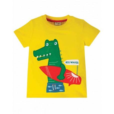 T-shirt manches courtes en coton biologique FRUGI - motif crocodile / surf