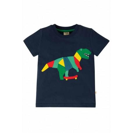 T-shirt manches courtes en coton biologique FRUGI - motif dinosaure / skate