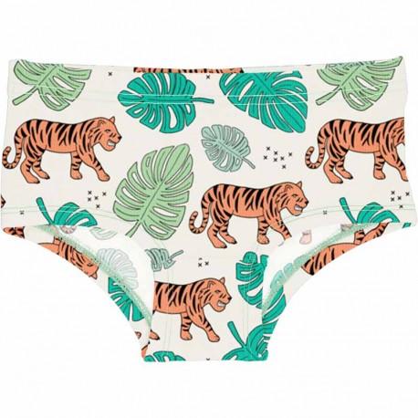 Slip taille basse en coton biologique Meyadey, motif Tigres