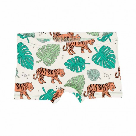Slip shorty en coton bio Meyadey, motif Tigres