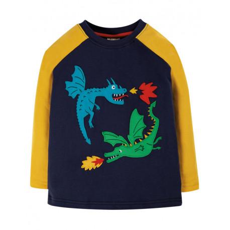 T-shirt manches longues en coton biologique Frugi, motif Dragons