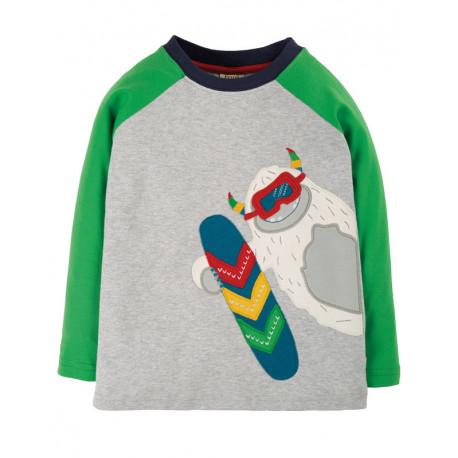 T-shirt manches longues en coton biologique Frugi, motif Yéti