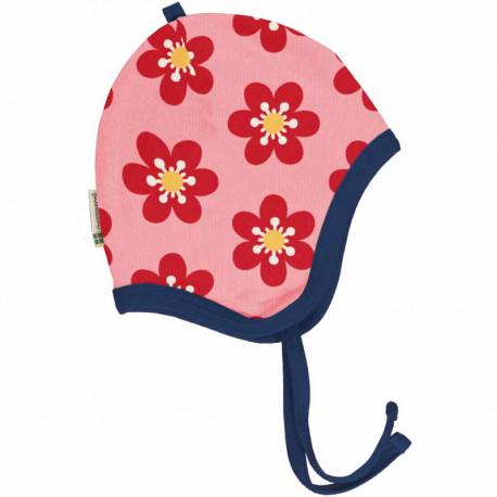 Bonnet velours en coton biologique Maxomorra, motif Anémone