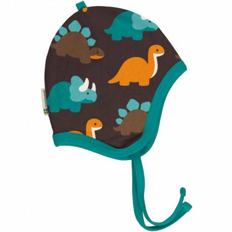 Bonnet en coton biologique avec doublure velours Maxomorra, motif Dinosaure