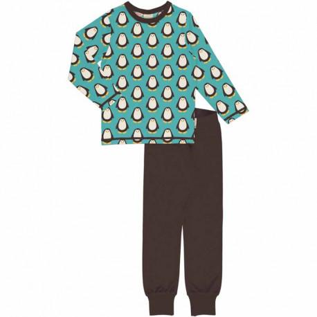 Pyjama manches longues en coton biologique Maxomorra, motif Pingouin