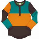 T-shirt manches longues slim en coton biologique Maxomorra, orange-vert-turquoise