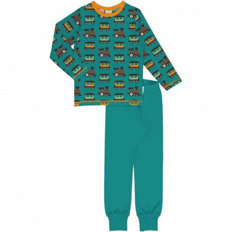 Pyjama manches longues en coton biologique Maxomorra, motif Train