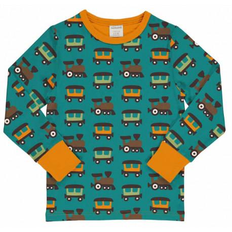 T-shirt manches longues en coton biologique Maxomorra, motif Train