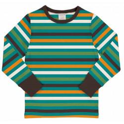T-shirt manches longues en coton biologique Maxomorra, rayé orange-vert-turquoise